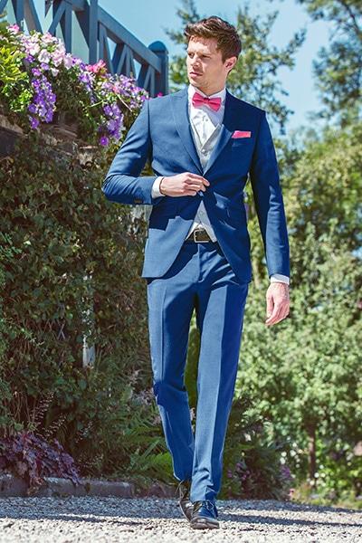 Costume mariage bleu Jean de Sey