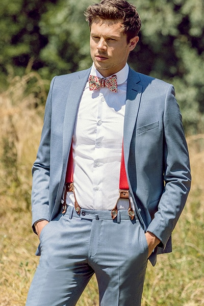 Costume mariage bleu ciel Jean de Sey